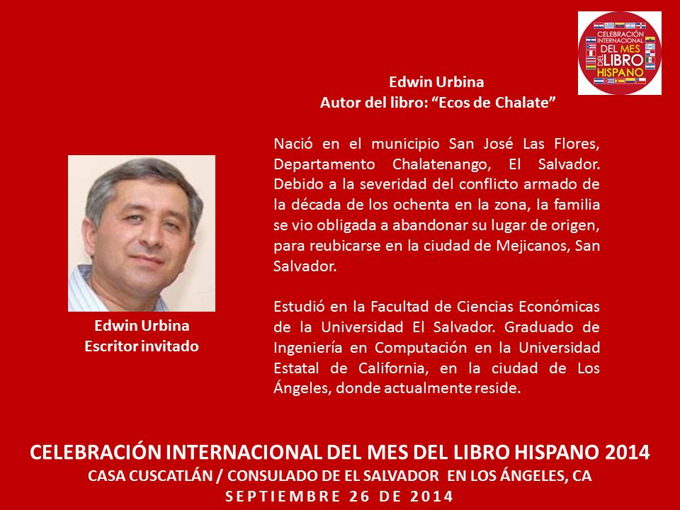 Edwin Urbina Mes del Libro Hispano Los Angeles
