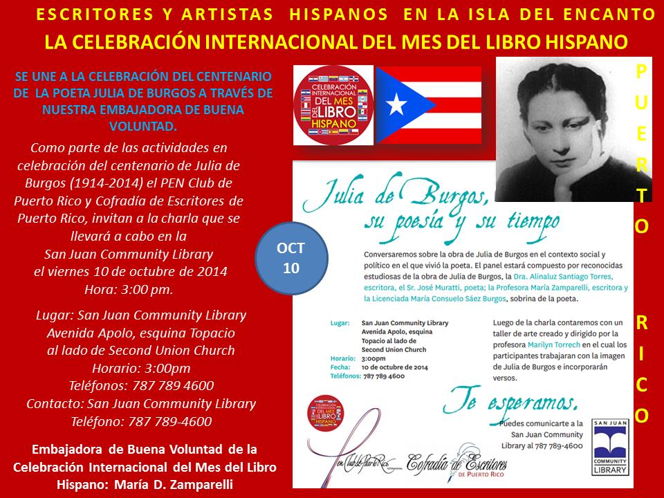 Homenaje a Julia de Burgos Mes del Libro Hispano Puerto Rico