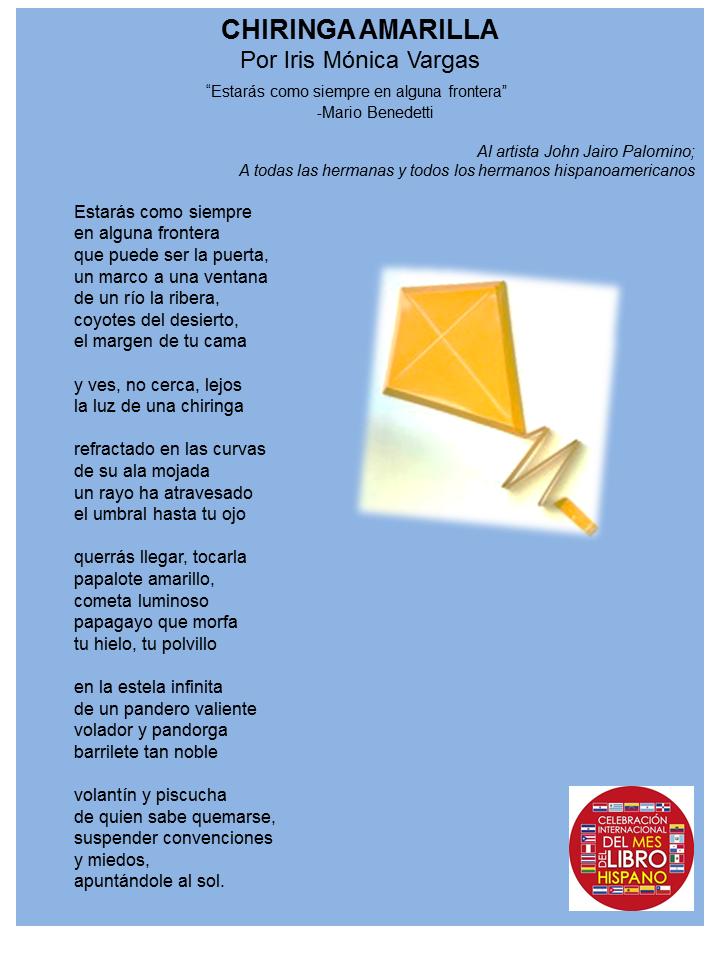 Poema de Iris Monica Vargas Chiringa amarilla Mes del Libro Hispano 2014