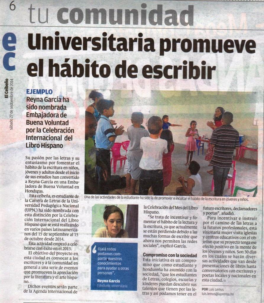 Reyna Isabel Pineda Embajadora de Buena Voluntad en Honduras