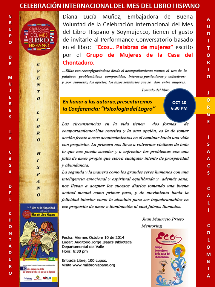 Mes del Libro Hispano Cali Libro Ecos Casa del Chontaduro